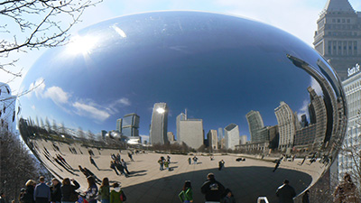 Chicago seen through a fish-eye lens