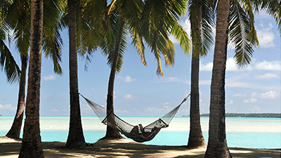 A hammock on a tropical beach