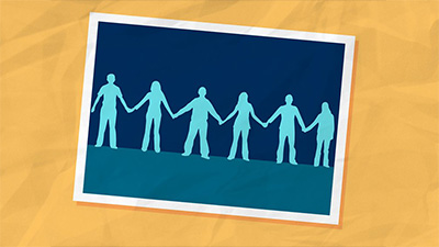 An illustration of people holding hands
