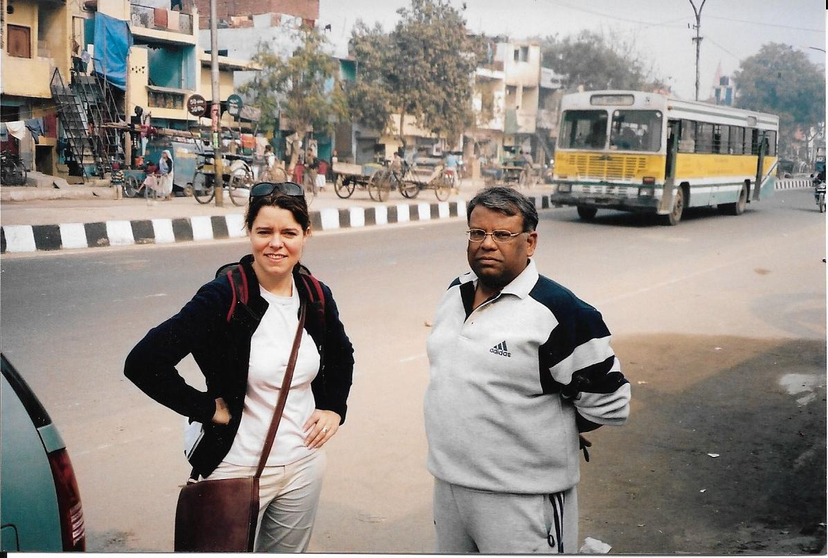Claudia and guest on a street in India