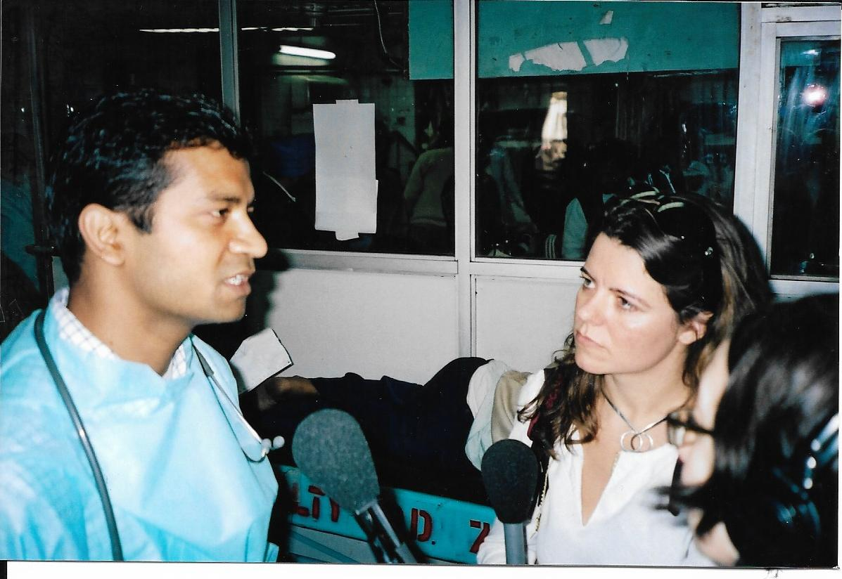 Claudia interviewing a guest in India