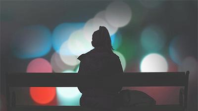 A lone figure in silhouette