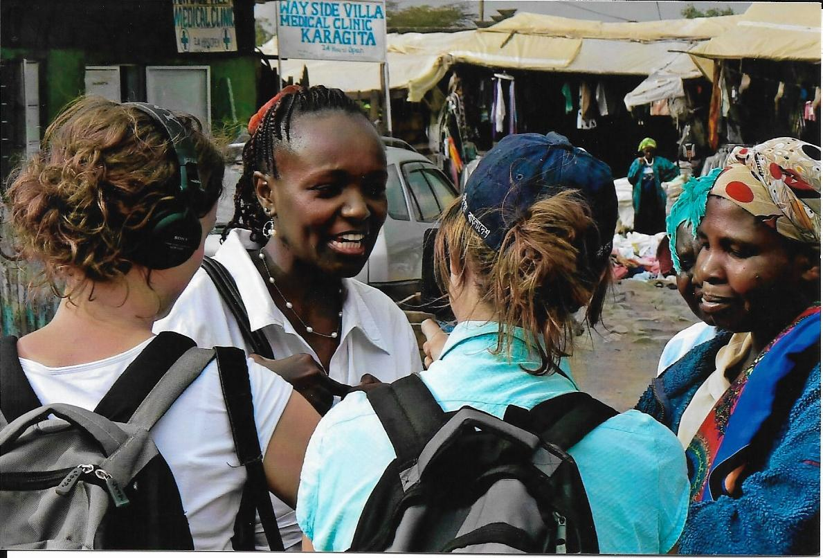 Claudia interviewing women in Kenya